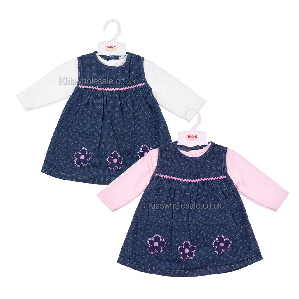 1c7bfdf18 Baby Girls L/S 2Pc Denim Dress - Flowers - 0-9M (7414) – Kidswholesale.co.uk