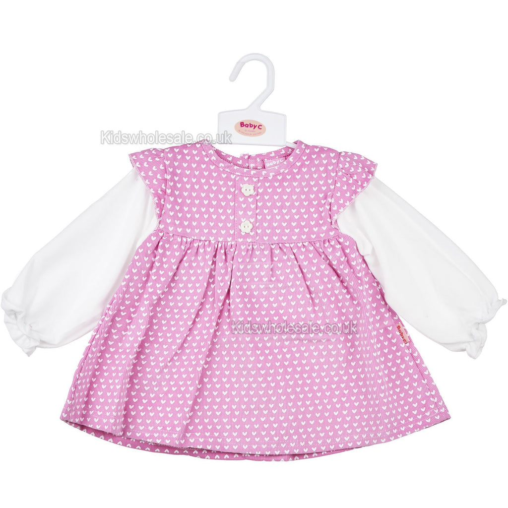 Baby Girls L/S Corduroy Dress - Hearts - 0-9M (7415)