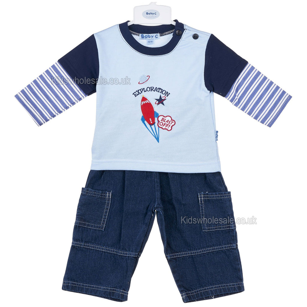 Baby Boys L/S 2Pc Denim Set - Exploration - 0-9M (7423)