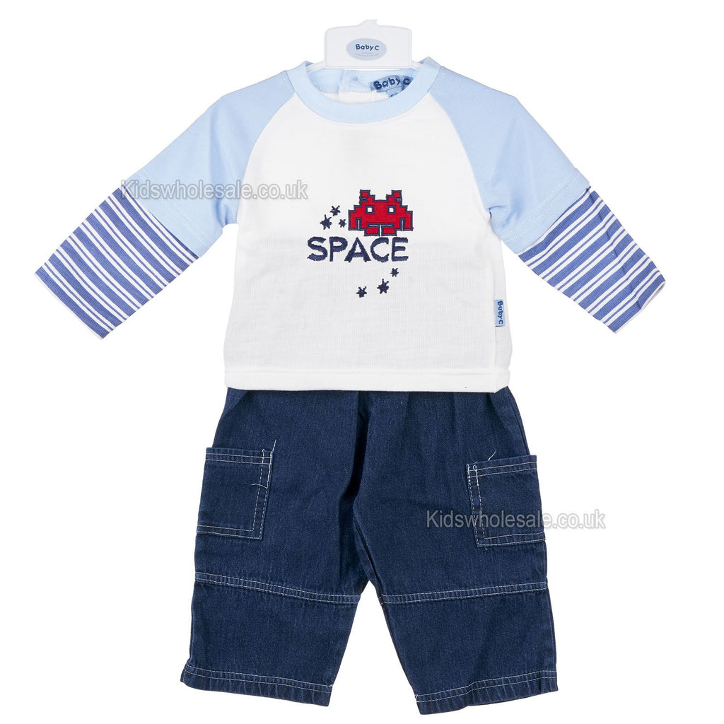 Baby Boys L/S 2Pc Denim Set - Space - 0-9M (7424)