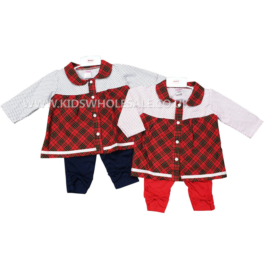 Girls Checkered Tartan Dress set - 'Polka Dots' (0-9M) 7446
