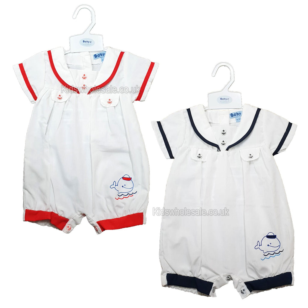 Baby Boys Sailor Romper - Whale - 0/9M - (7453) NEW