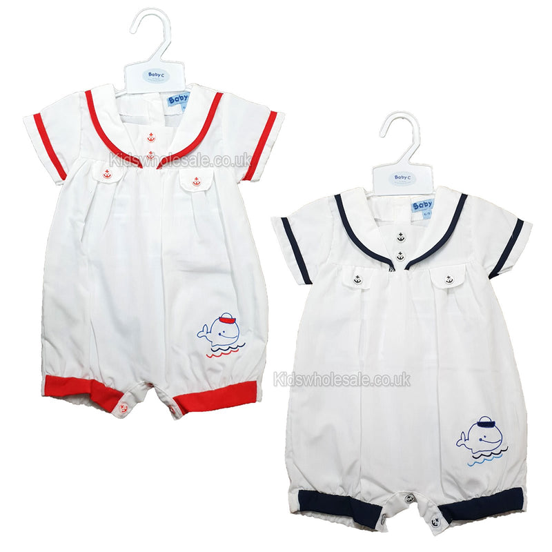 Baby Boys Sailor Romper - Whale - 0/9M - (7453) NEW - Kidswholesale.co.uk