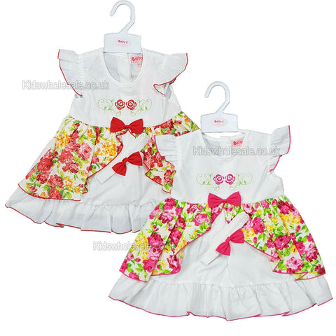 Baby Girls Cotton Lined Dress - Flowers - 1-2 Years (G3229)