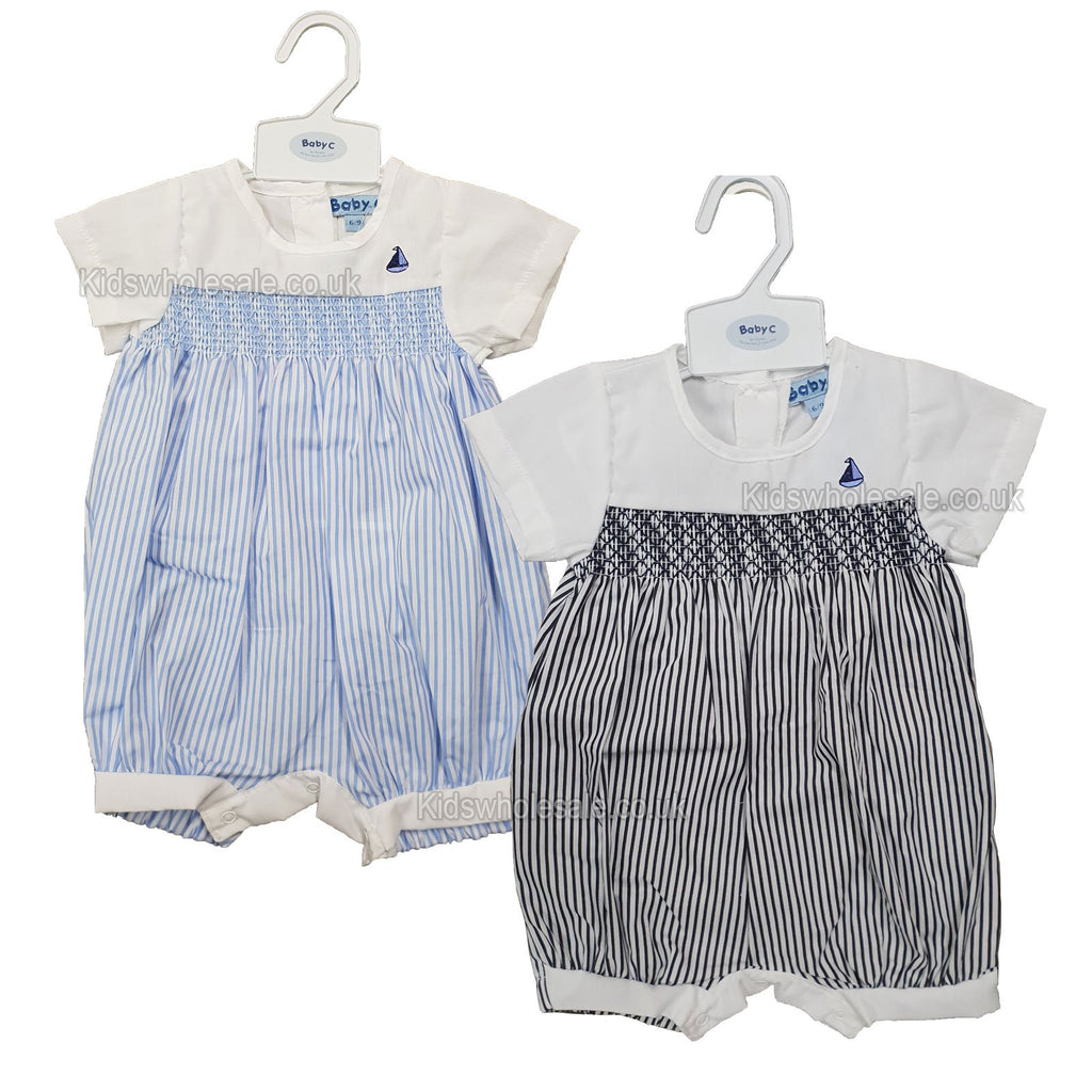 Baby Boys Romper W/Smocking & Embroidery - Boat - 0/9M - (7490) NEW