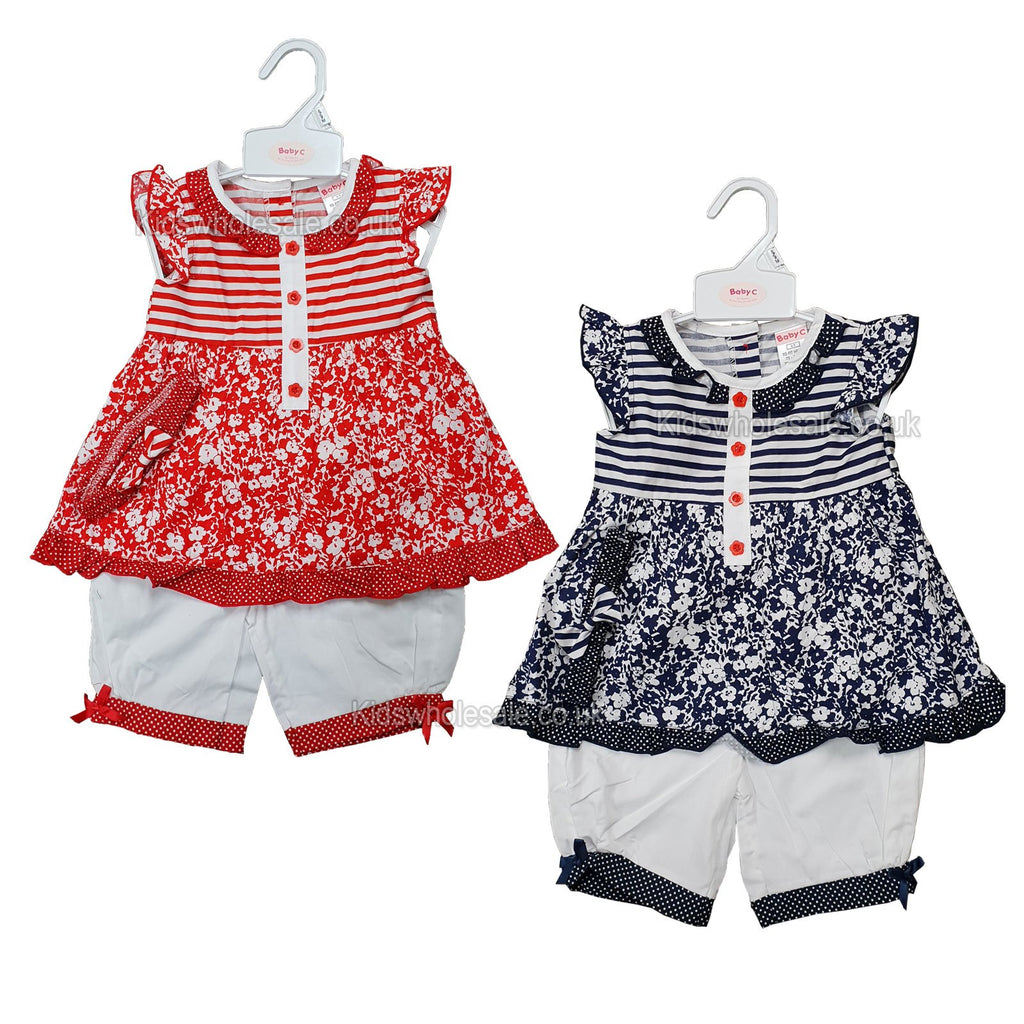NEW Baby Girls Short Set - Flowers - 0-9 Months (7499)
