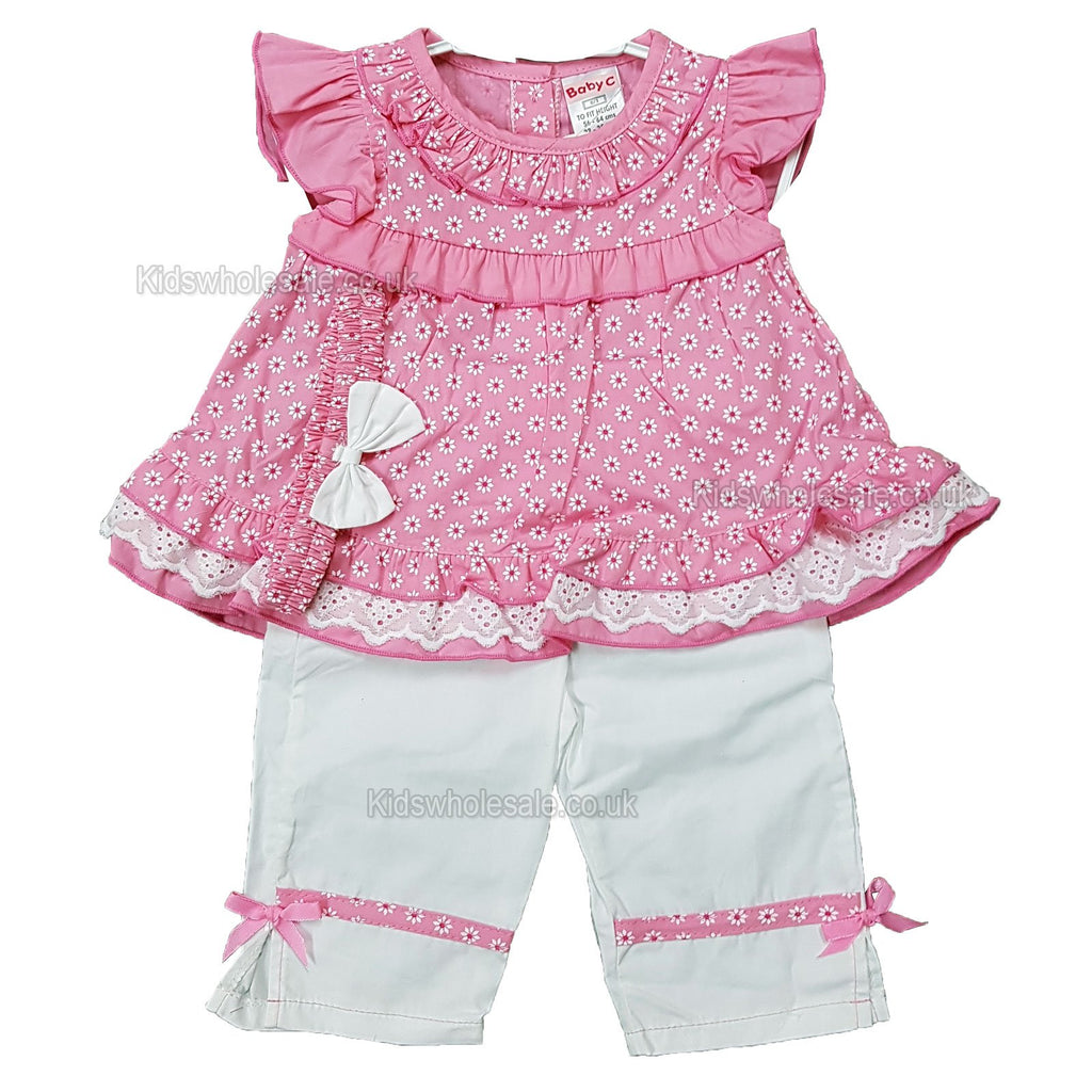 NEW Baby Girls 3pc Trouser Set w/Headband - Floral - 0-9 Months (7500)