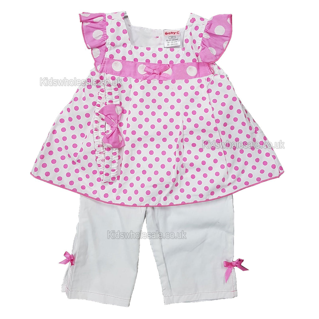 Baby Girls 3Pc Trouser Set w/Headband- Polka Dot - 0-9 Months (7502)