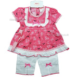 NEW Baby Girls 3pc Trouser Set w/Headband - Floral - 0-9 Months (7504)