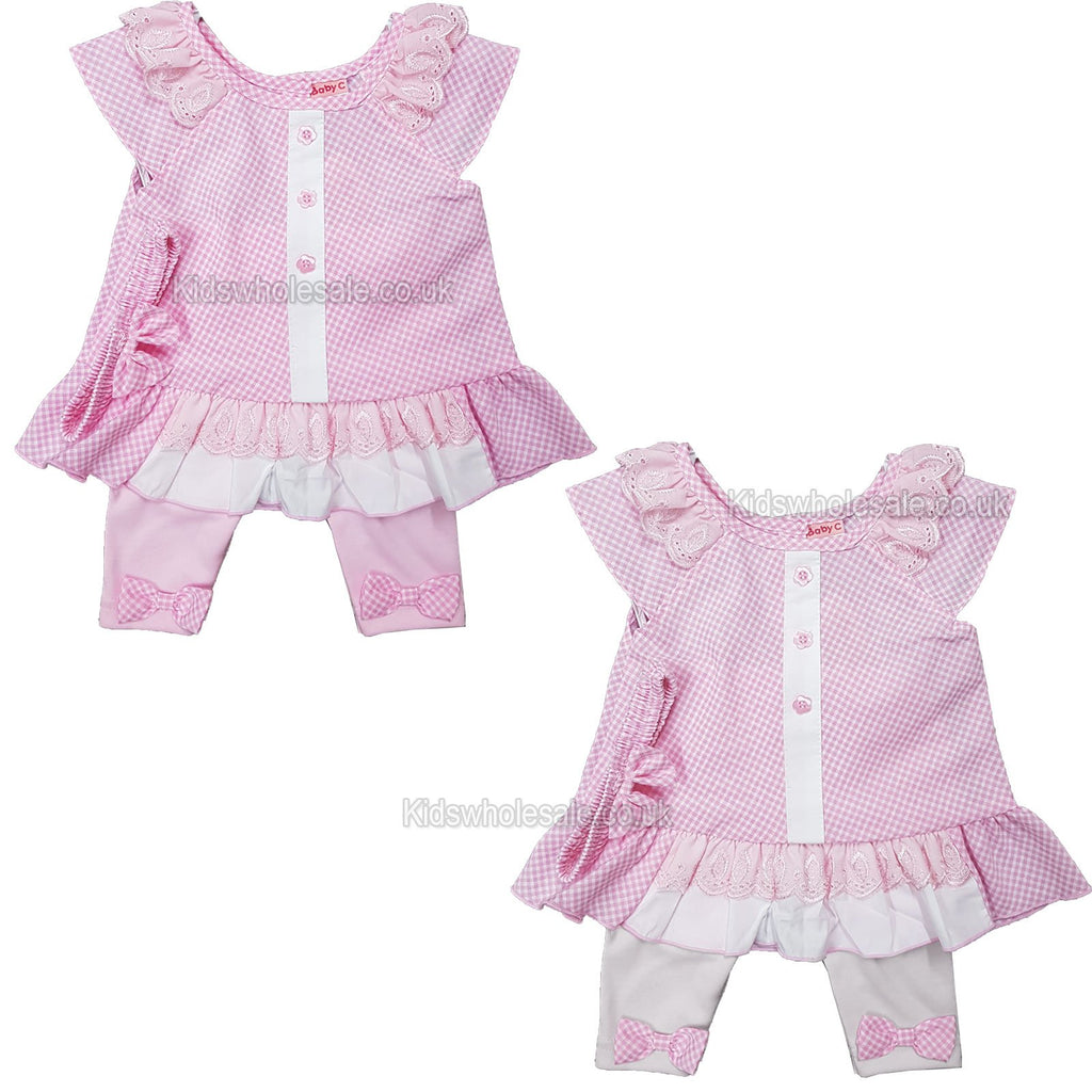 NEW Baby Girls 3pc Legging Set w/Headband - Pink - 0-9 Months (7507)