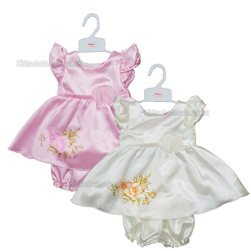 NEW Baby Girls Satin Party Lined Dress - Flowers - 0-9 Months (7512)