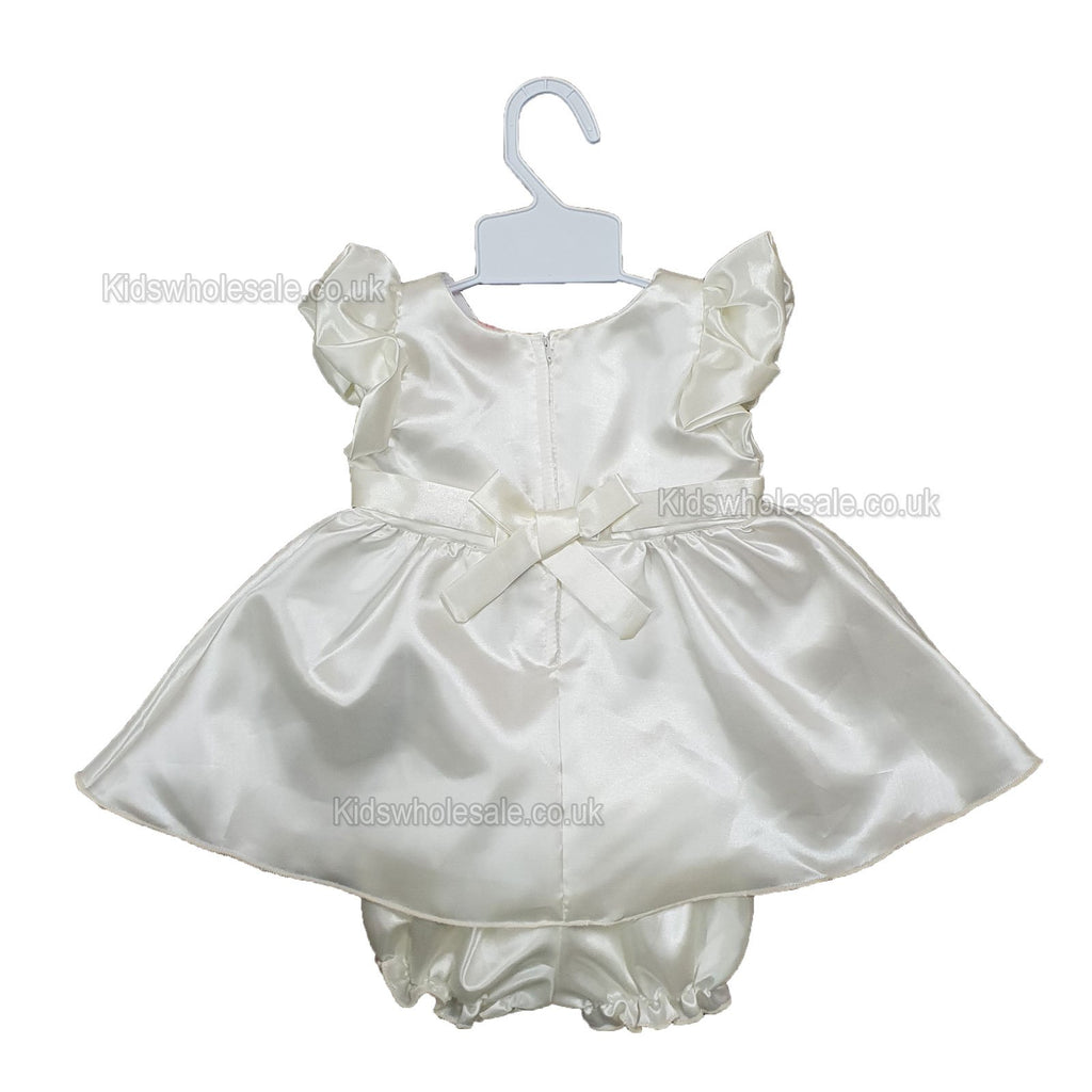 NEW Baby Girls Satin Party Lined Frilly Dress - 0-9 Months (7514)