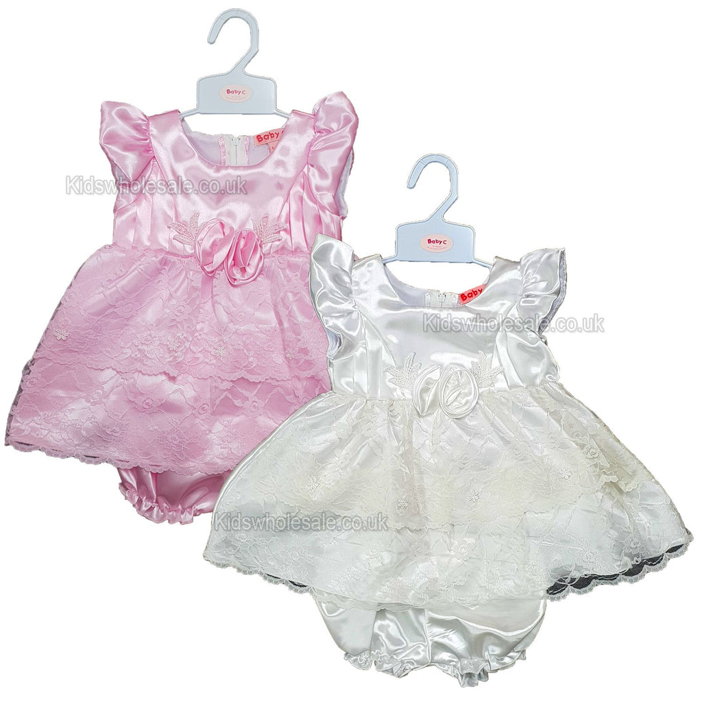 9404a6f94 ... NEW Baby Girls Satin Party Lined Frilly Dress - 0-9 Months (7514) ...