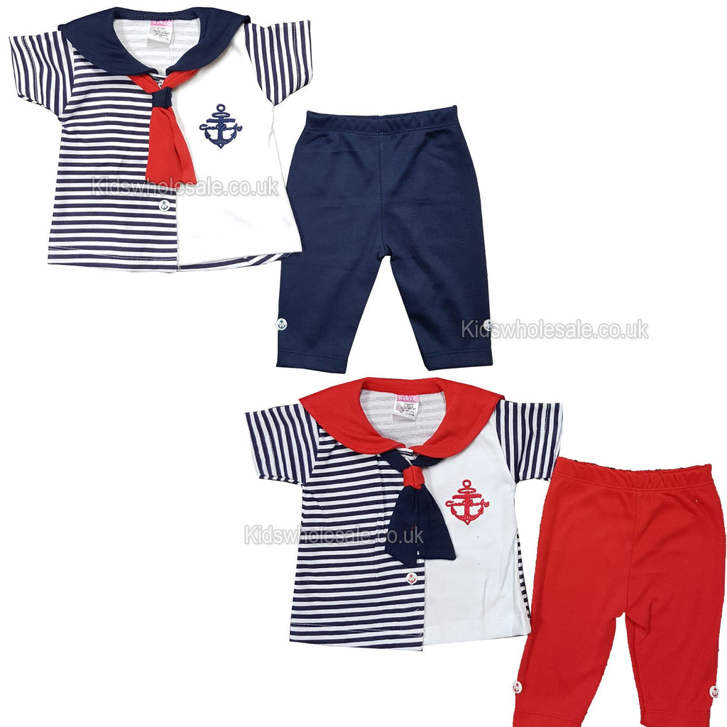 NEW Baby Girls 2pc Cotton Set - Sailor set - 0-9 Months (7523)