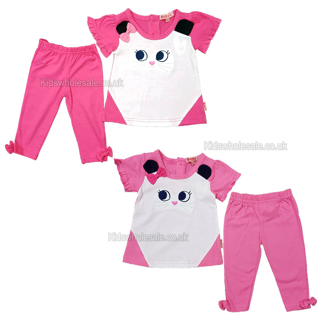 NEW Baby Girls 2pc Cotton Legging Set - Kitty - 0-9 Months (7524)