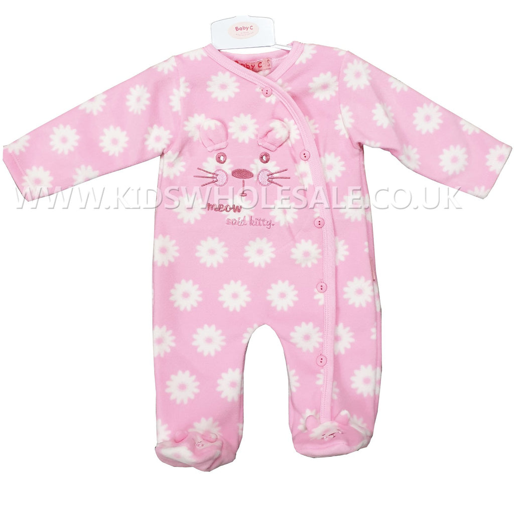 Baby Girls All In One Micro Fleece Set - Kitty - 0-9M (7533)