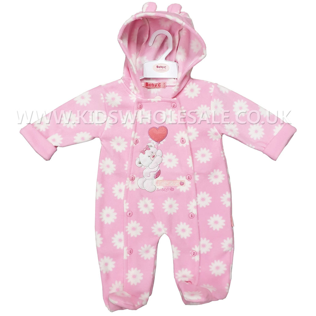 Baby Girls Hooded All In One Micro Fleece Set - Teddy - 0-9M (7538)