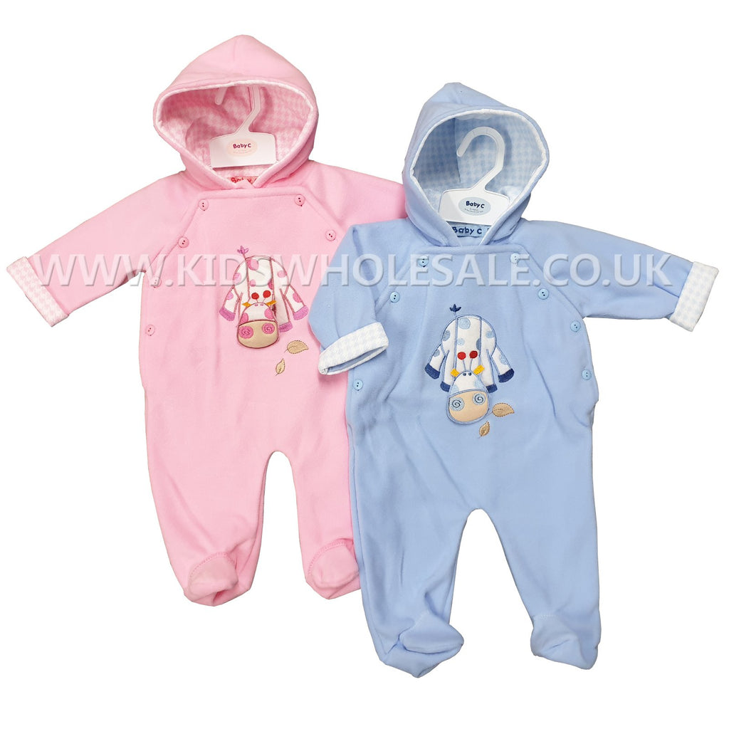 Babies Hooded All In One Fleece Set - Giraffe - 0-9M (7539)