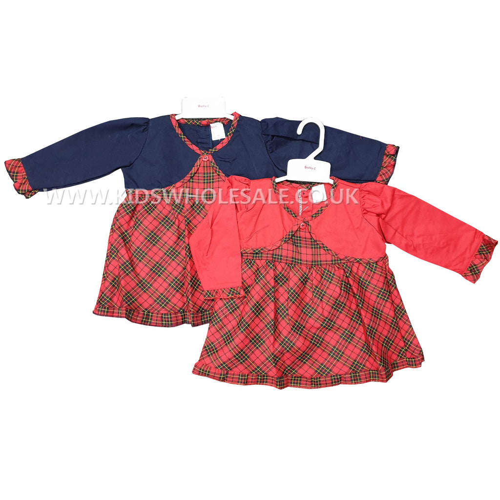 Girls Tartan Dress Set with Faux Bolero 0-9M (7543)
