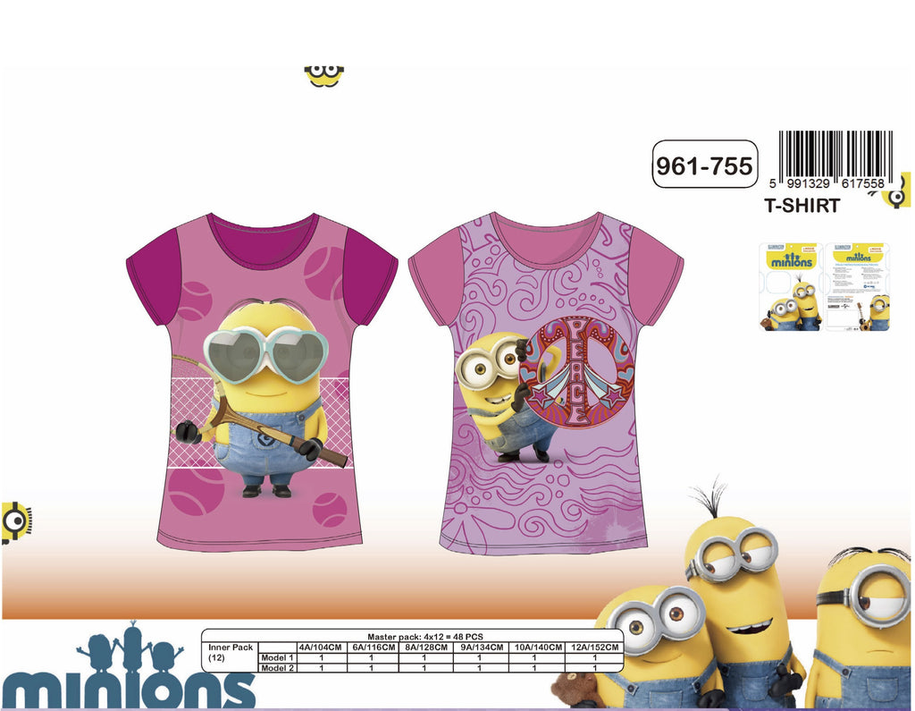 Minions Girls round neck short sleeve T-Shirt 4-10 Years (961-755)