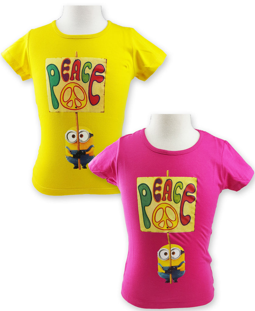 Minions Girls round neck short sleeve T-Shirt 4-10 Years (961-763)