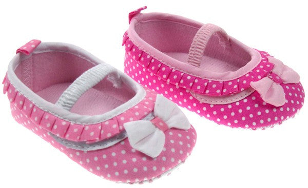 Polka Dot Shoes with Bow and Strap (B2038)