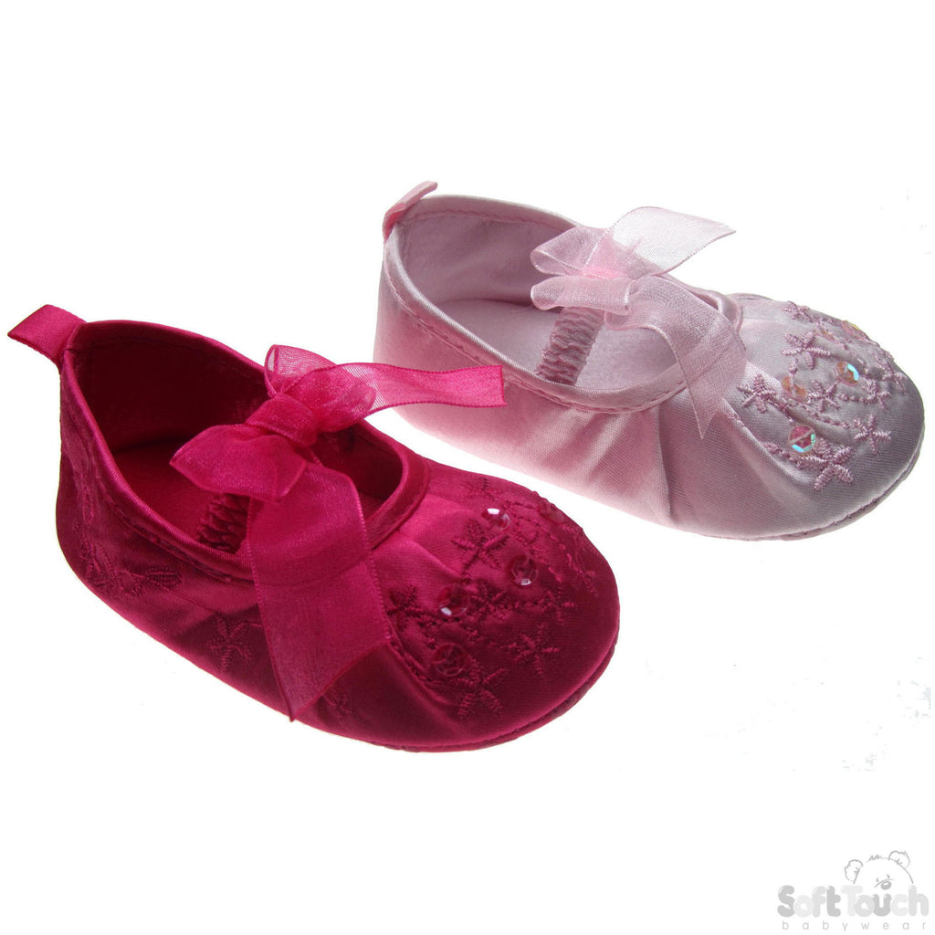 Girls Embroidered Satin Shoes