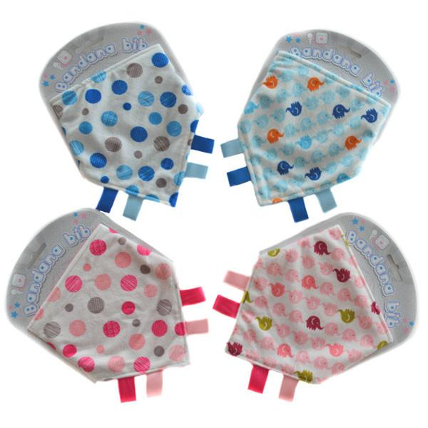 ELEPHANTS/DOTTED MINKY BANDANA BIB: BB358