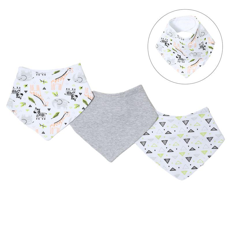BOYS 3 PACK PLAIN, TRIANGLE & ZEBRA BANDANA BIB SET - BB366