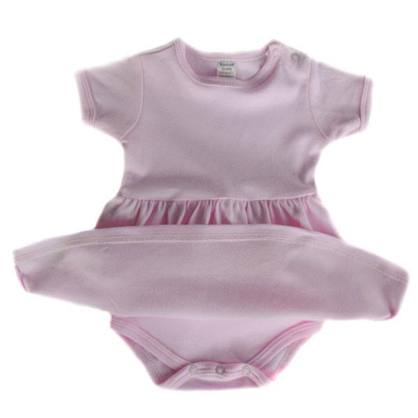 INFANTS PLAIN PINK ROMPER ONESIE DRESS: BD632-P