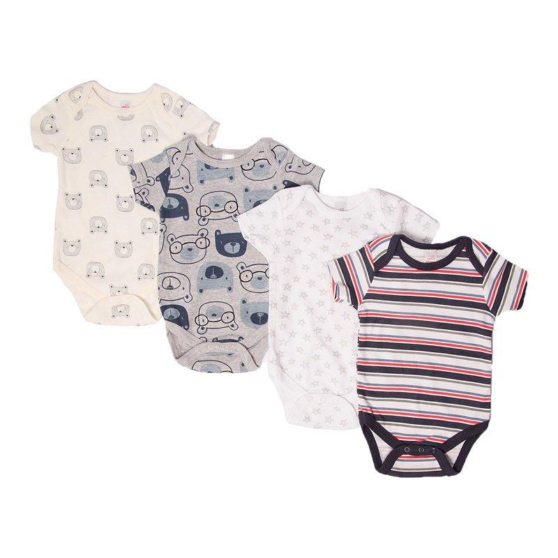 Boys Printed Short Sleeved Bodysuit - (NB-3 Months) BS4657 - Kidswholesale.co.uk