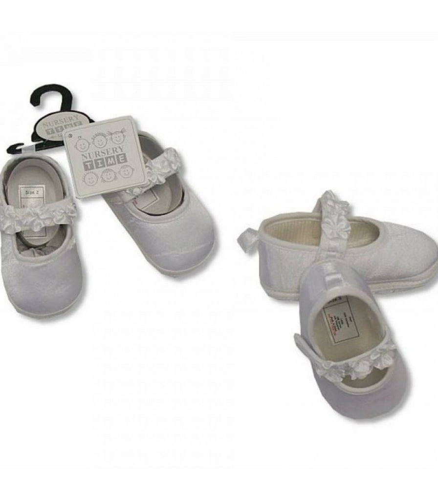 BABY GIRLS CHRISTENING SHOES - FLOWER - WHITE