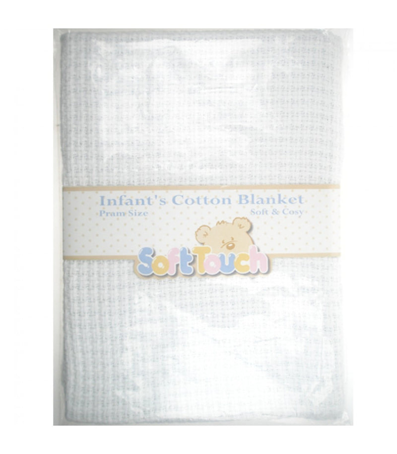 SOFT TOUCH INFANTS COTTEN COT SIZE BLANKET SOFT & COSY