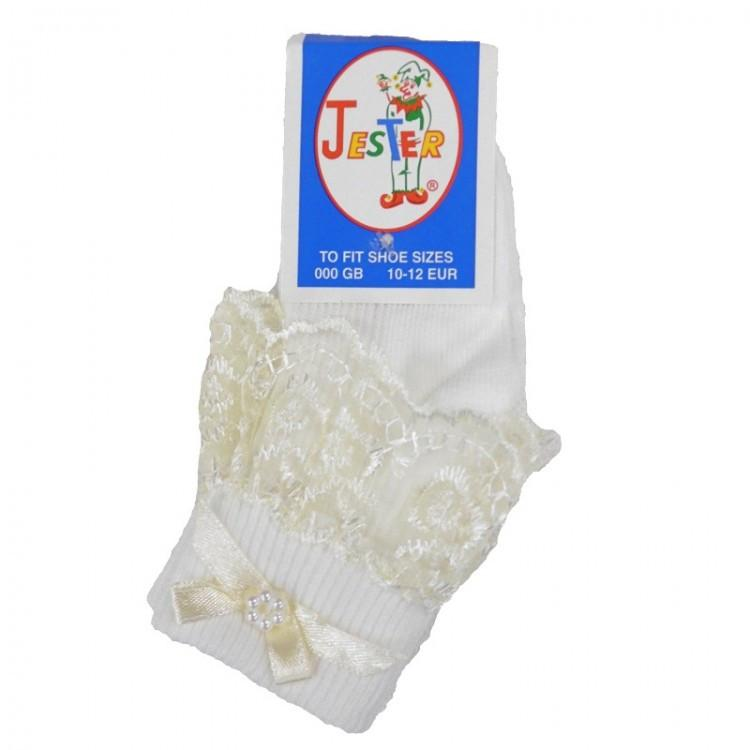 Girls Cream Jester Frilly Lace Socks