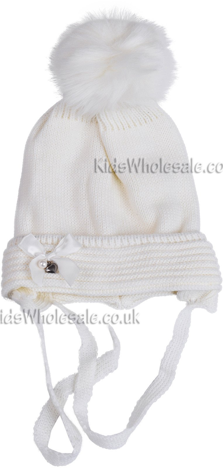 Girls Fur Pom Hat With Satin Bow (1-2 Years)(DF4202) - Kidswholesale.co.uk