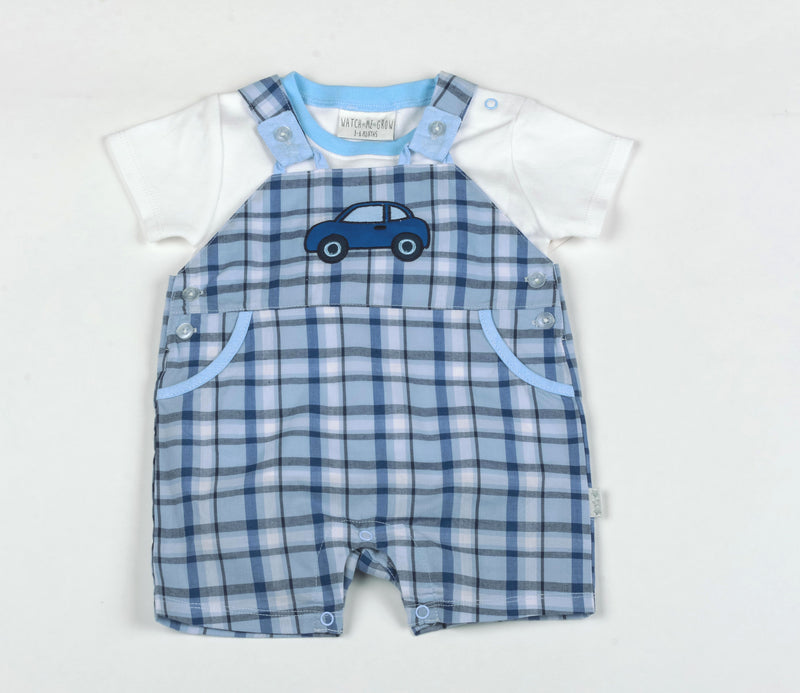 Baby Boys Dungaree Set- Car - NB-6M (G1313) - Kidswholesale.co.uk