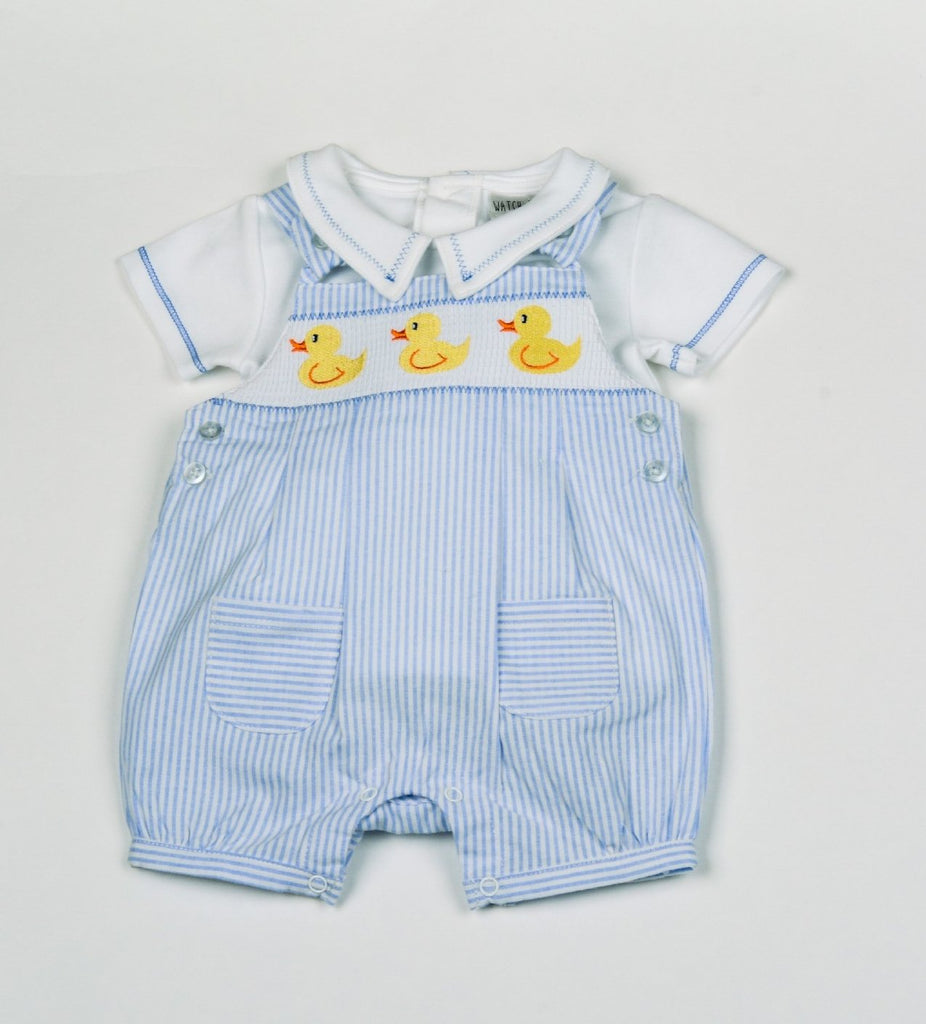 Baby Boys Dungaree Romper /& T-Shirt 2 piece set with Sailor Anchor 0-12 month