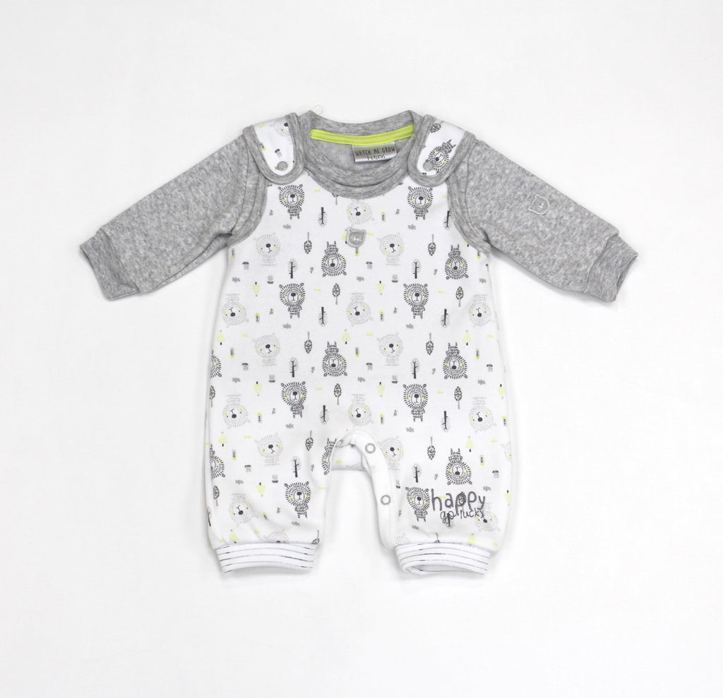 Baby Boys Fleece Dungaree & Top Set - Lion - 0-9M (L1061)
