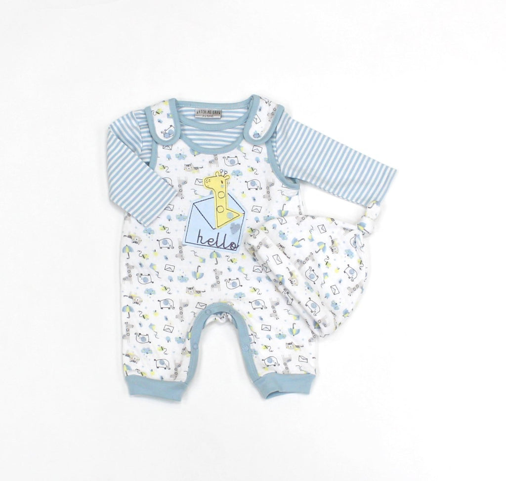 Baby Boys 3Pc Quilted Dungaree, Top & Hat Set - Safari - 0-9M (L1071)