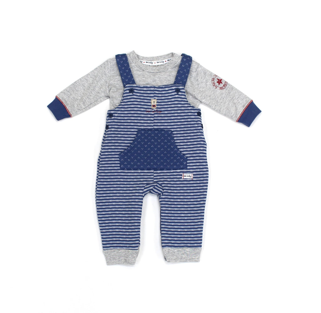 Baby Boys Quilted Dungaree & Top Set - Teddy - 3-12M (L2084)