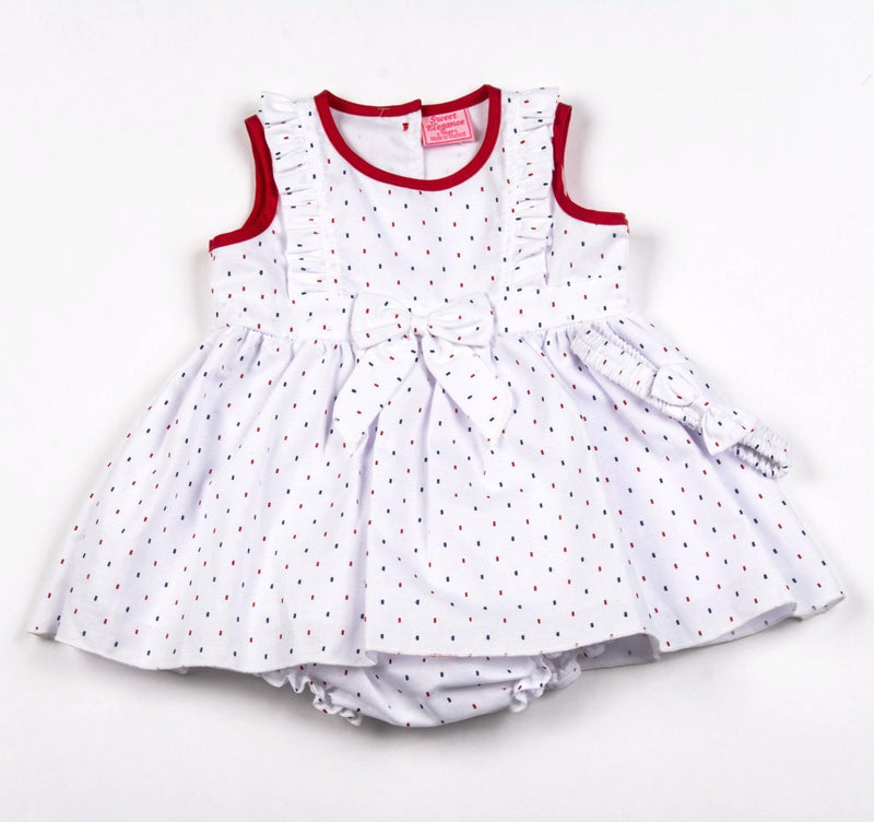 Red Spot White Dress, Pant & Headband 12-24 Months (F3558) - Kidswholesale.co.uk