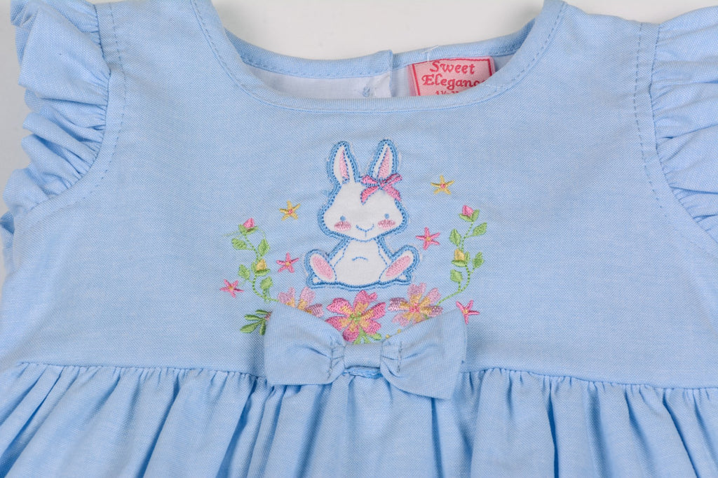Baby Girls 3pc Chambray Lined Dress Set - Bunny - 12-24M (G3263)