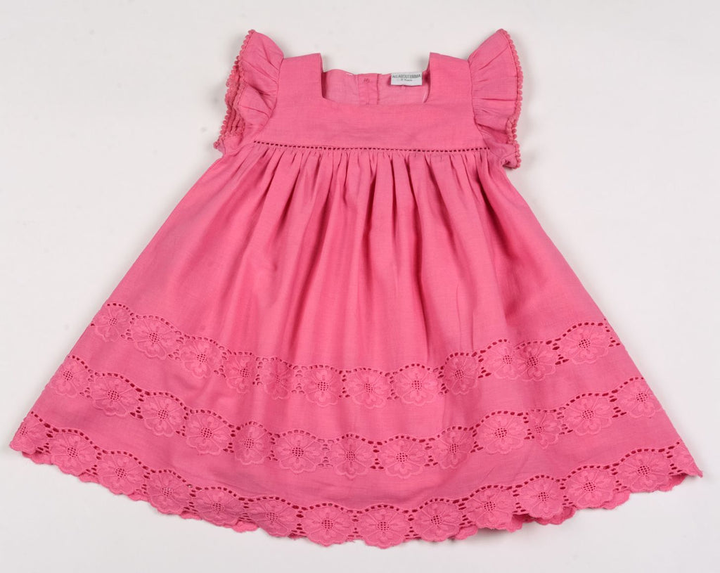 Girls Fashion Lined Dress - Pink Flowers - 1-3 Years (G3415)