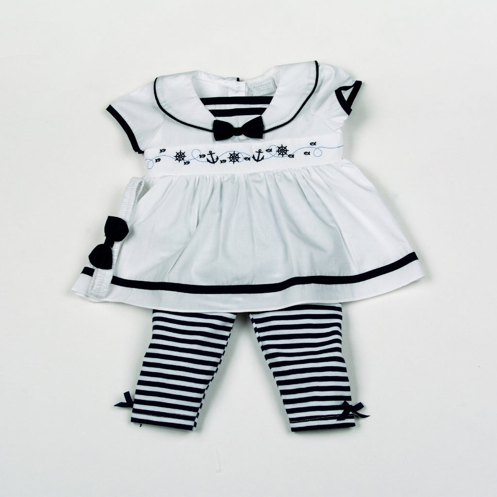Baby Girls 3pc Legging Dress Set W/Headband - Boats- 0-9M (H1809)
