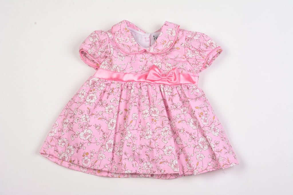 Baby Girls Floral Lined Dress w/Bow - Pink - 0-9M (K1504)