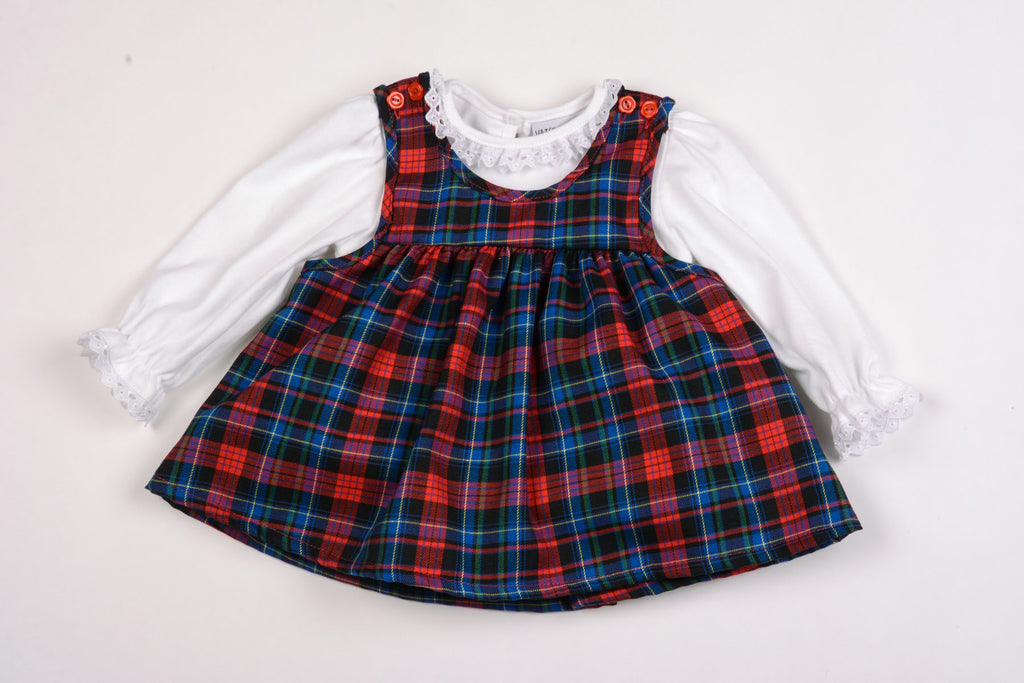 Baby Girls Tartan Pinafore & Top Set - 0-9M (K1505)
