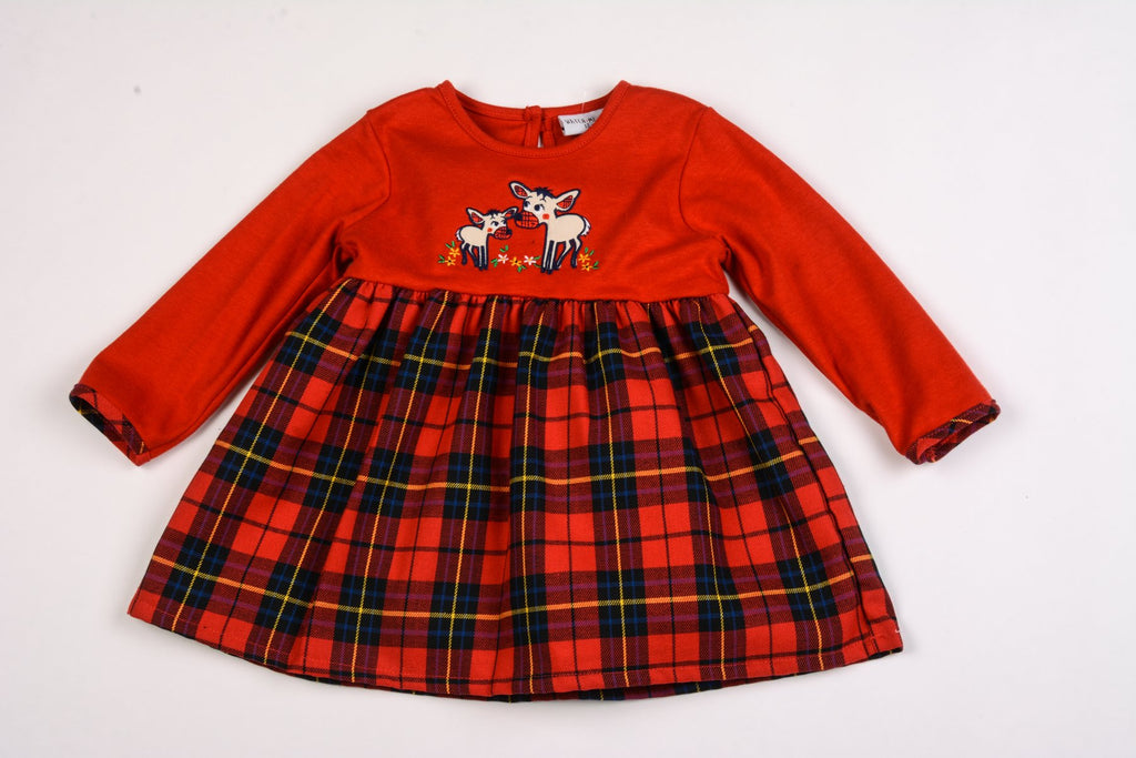 Baby Girls Lined Tartan Dress - Reindeer - 12/24M (K3508)
