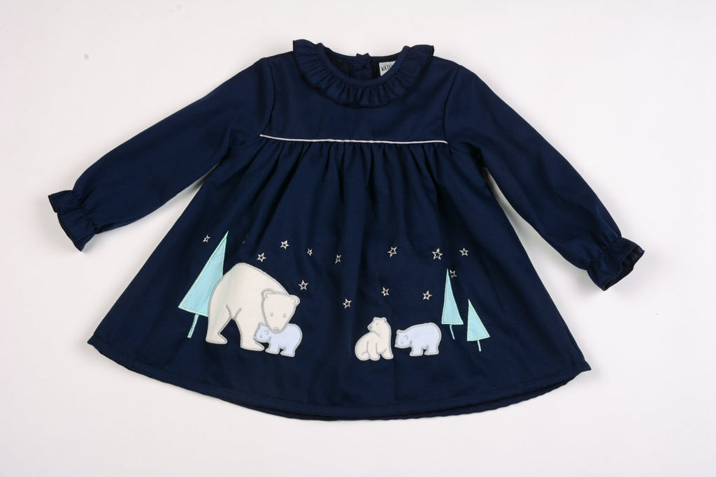 Baby Girls Lined Corduroy Dress - Polar Bear - 12/24M (K3509)