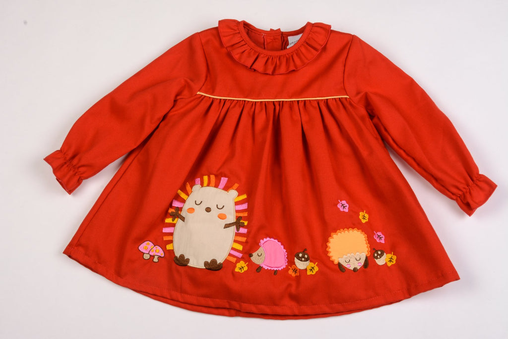 Baby Girls Lined Corduroy Dress - Hedgehogs - 12/24M (K3510)