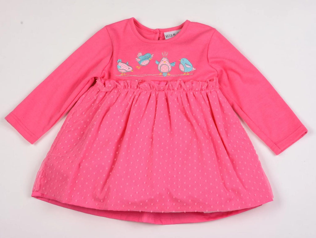 Baby Girls Woven Lined Net Dress - Birdies - 12/24M (K3512)